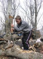 Дима рубт дрова.